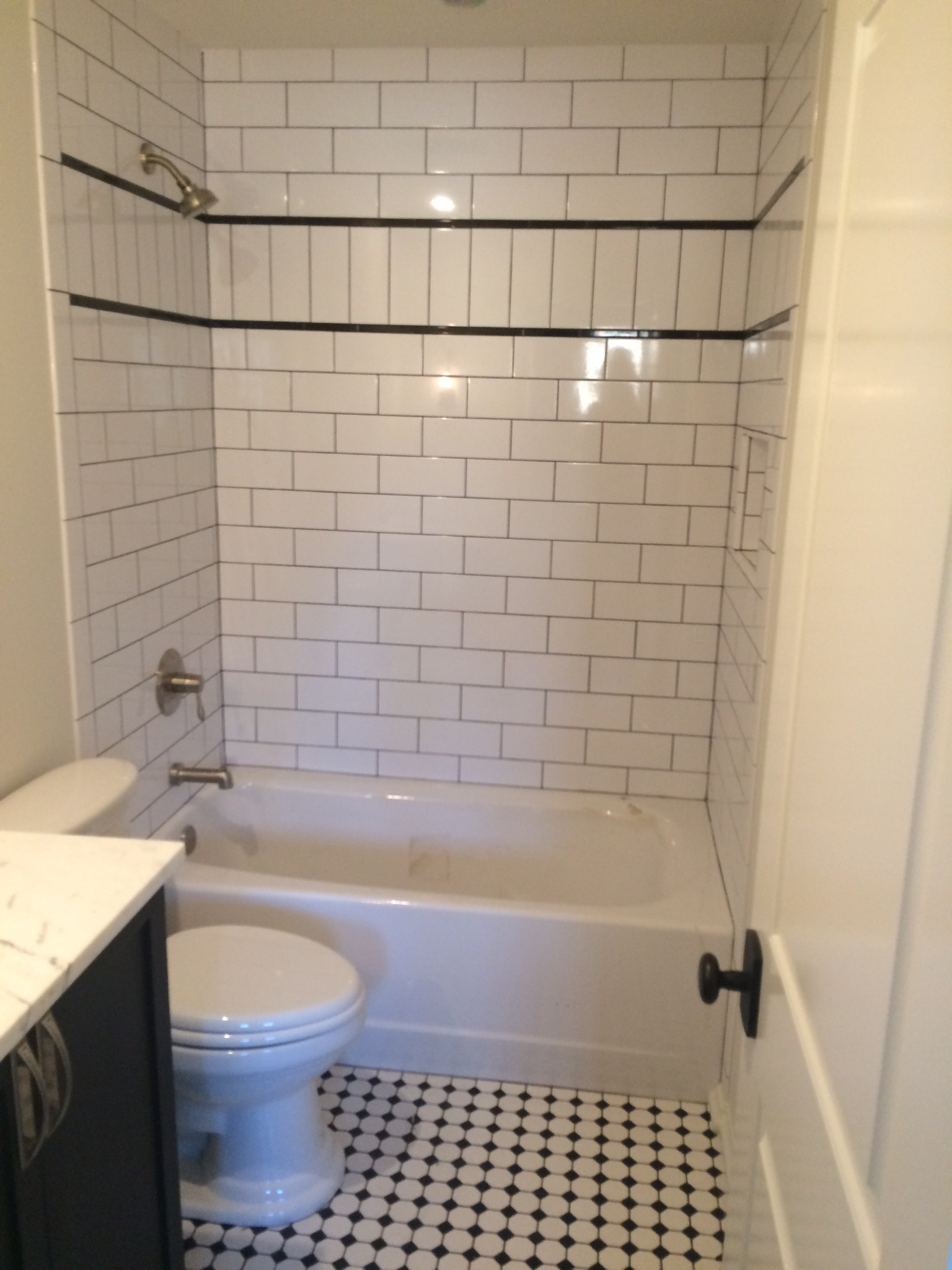 Mosaic tile and shower