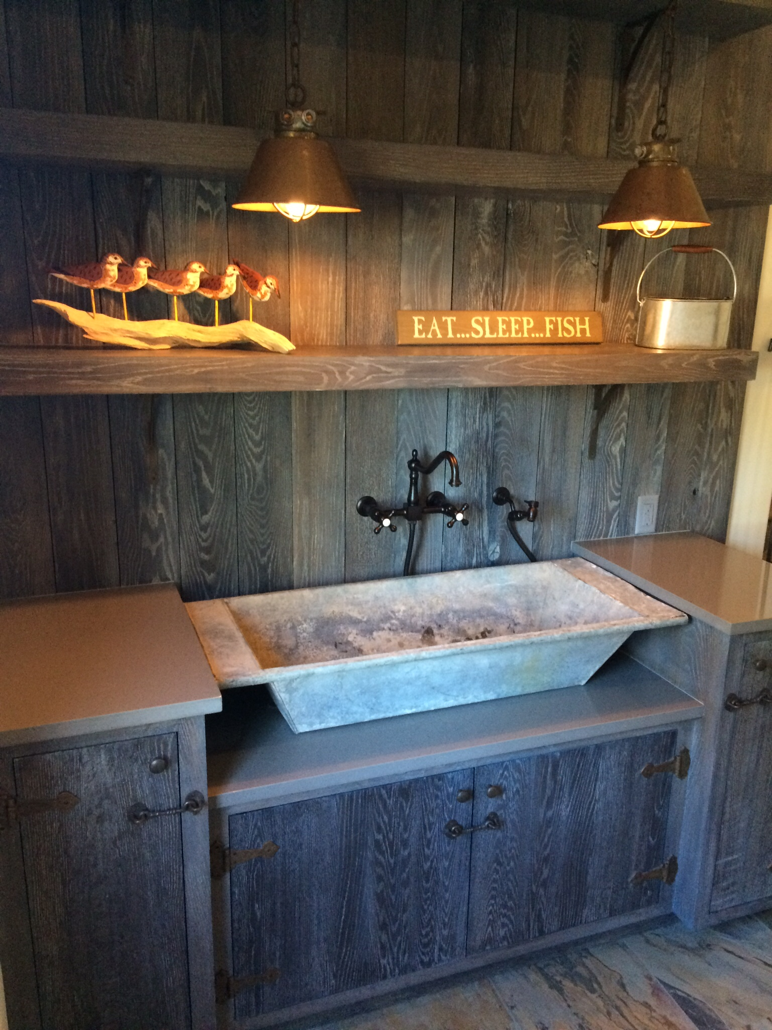 Potting area with custom sink