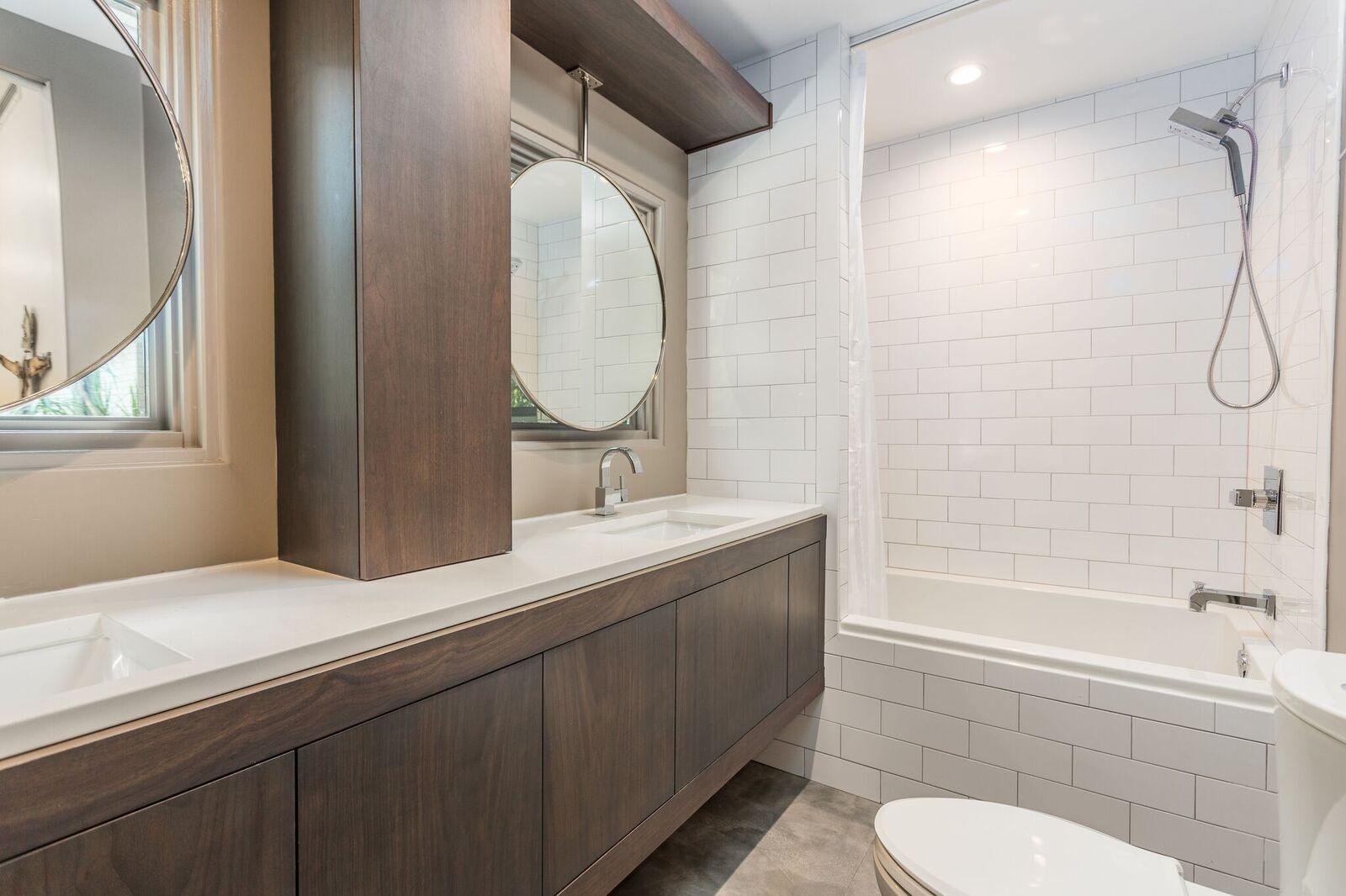 Custom Cabinets with Custom Mirror Brackets